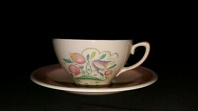 Susie Cooper Pink Dresden Spray Cup and Saucer.