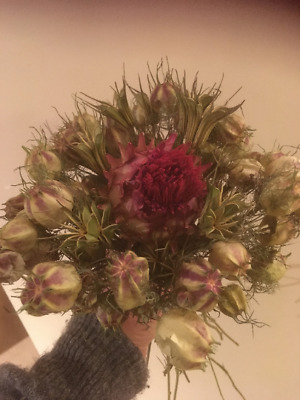 Dried Artichoke and Dried Nigella Hand Tied Bouquet