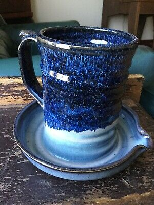 """Alewine Pottery,Large Mug With Attached Bowl Approx.6""""by7 1/2"""" And Hand Signed."""