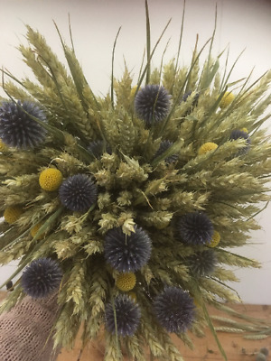 Hand Tied Bouquet of dried wheat, craspedia and echinops