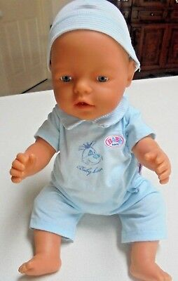 2003/2004 Blue Eyes Baby Born Doll will jumpsuit hat and nappy Zapf Creations