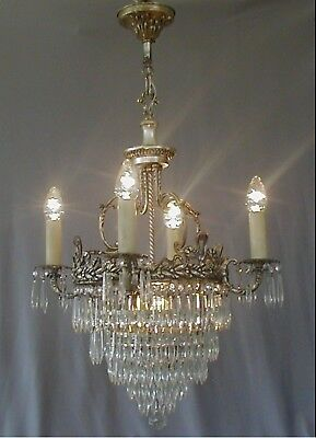 Antique Victorian 1910 / 1920's Crystal Wedding Cake Chandelier Silver Plate