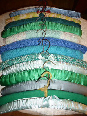 Job Lot 14 Padded Blues Greens Vintage Crochet Satin Fabric Clothes Coat Hangers