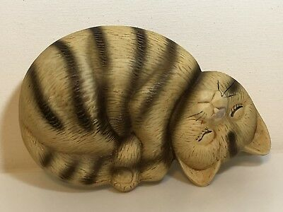 Unique Vintage Ceramic Sleeping Cat Figurine Striped Cat Laying Asleep Unmarked