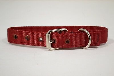 """Dog Collar - 1"""" Doubled and Stitched - Red Nylon (F220)"""