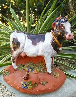 Vintage Clay Pottery Cow Figurine signed by June Sears