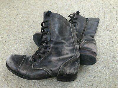 3e3d1e3a2dc ALL SAINTS BROWN GREY distressed leather military boots (Size 38 5 ...
