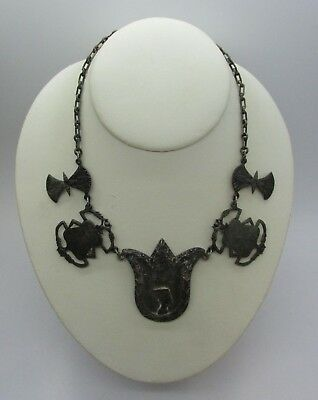 Antique ART DECO Egyptian 900 Silver Pharaoh Hieroglyphic Scarab Beetle Necklace