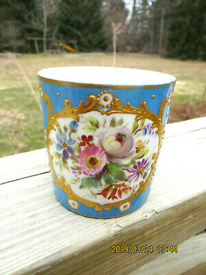 "Antique Meissen Demitasse Cup Cartouche With Floral Design Blue Logo 2 1/4""tall"
