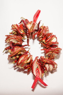 Stunning Dried Red Apple and Dried Long Chilli Wreath