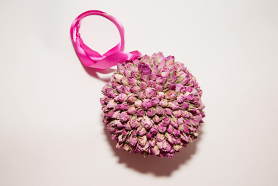 Pink Dried Rosebud Pomander/Kissing Ball