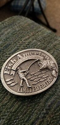 belt buckle Fish America Limited Edition Heavy Pewter Metal made USA great cond.