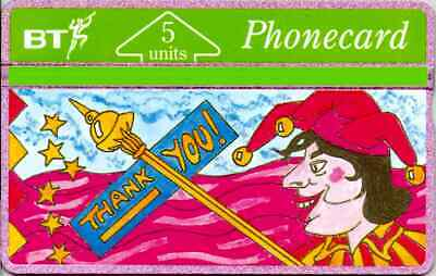 BTG002   Jester - Thank You  -  Mint Phonecard. Early issue 1991
