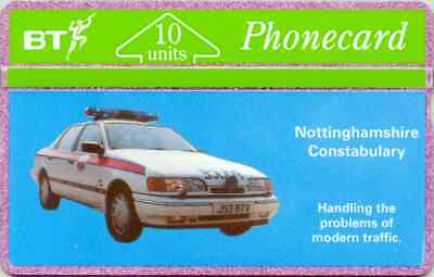 BTG005   Notts. Constabulary - Police Car  Phonecard. Early issue 1991