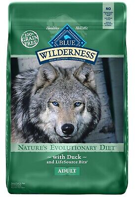 Blue Buffalo Wilderness ~ Natural Adult Dry Dog Food, Duck ~ 24 lb ~ Free Ship !