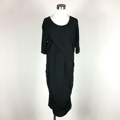 Liz Lange Maternity Dress XXL Casual Black Stretch Knit Sh Sleeve Ruched Sides