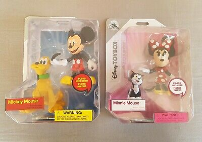 Disney Store Toybox Mickey Mouse & Minnie Mouse With Pluto & Figaro. New.