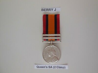 Queen Victoria Boer War Queen's South Africa Service QSA Medal, 2 Clasps, Named