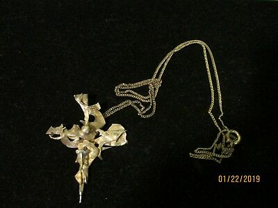 """Antique/Vintage Handcrafted Silver Tone Artisan Abstract Cross On 26"""" Chain"""