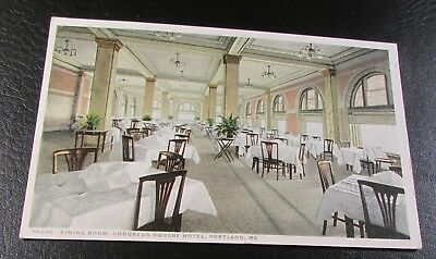 Old Postcard-<PORTLAND, MAINE>-{CONGRESS SQUARE HOTEL---DINING ROOM}