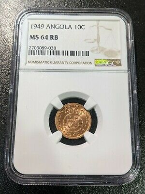 1949 MS65 RD Angola 10 Centavos NGC UNC KM 70
