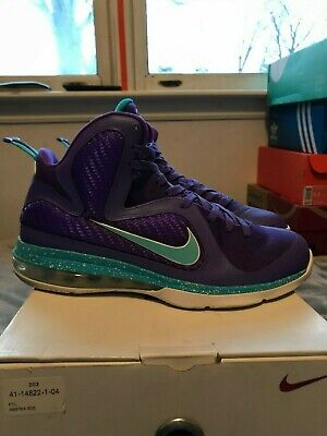 online store 61a64 61555 Nike Lebron 9 Summit Lake Hornets Mens Size 469764 500