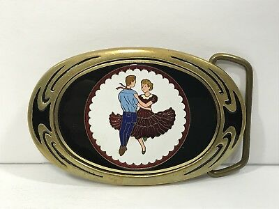 1983 NAP INC Solid Brass Belt Buckle Woman and Man Dancing 3.5 inch