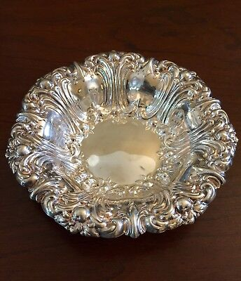 Vintage Gorham Silver Plated Floral Scalloped Edge Candy Dish Bowl YC1751