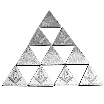 TEN 1 Gram Silver Bullion Triangle Free Mason Illuminati .999 Fine Free USA Ship