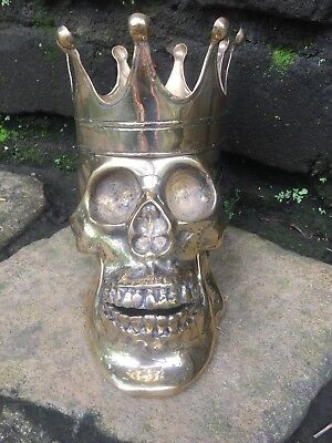 Rare New Hand Crafted Brass Metal Skull Collectables Gothic Day Dead King Crown