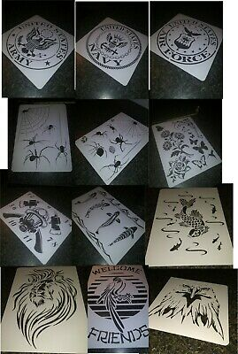 AIRBRUSH STENCIL ARMY Navy AirForce Lion Koi FireMan Butterflies Eagle  Spiders