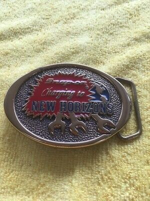 Vintage SNAP-ON Tools Brass Advertising Belt Buckle Charging to new Horizons