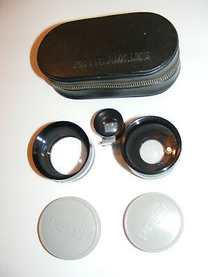 Petri Aux Wide Angle Tele Wide & Telephoto Lens Kit Set in Case for 1:19 4.5cm