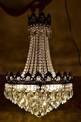 Antique Vintage French Basket Crystal Chandelier Brass Ceiling Lamp 16'' DIAMETR