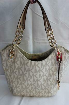 a5d8bfffb7b2 Michael Kors Lilly Medium Vanilla Signature PVC Tote / Gold Chain Hardware  EXC!