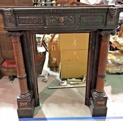 RARE Old Italian 19th Century Antique LARGE Black Marble FIREPLACE Wall Mantel