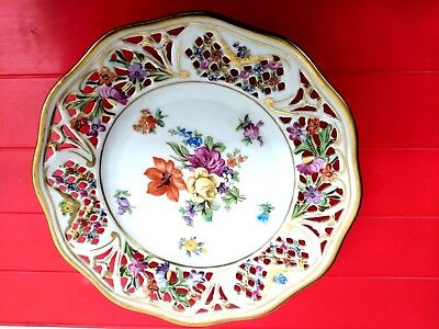 Schumann Bavaria CHATEAU DRESDEN Flowers Reticulated Plate Germany US Zone