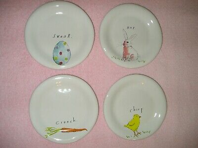 New RAE DUNN Round EASTER Plates Bunny Hop Chirp Chick Carrot Sweet Egg Set Of 4