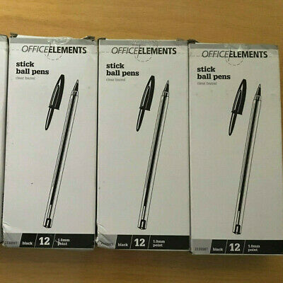 3x 12 pack OFFICE/ELEMENTS BLACK Stick Ball 1.0mm Point Pen  FREE POSTAGE