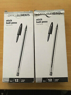 2x 12 pack OFFICE/ELEMENTS BLUE Stick Ball 1.0mm Point Pen  FREE POSTAGE