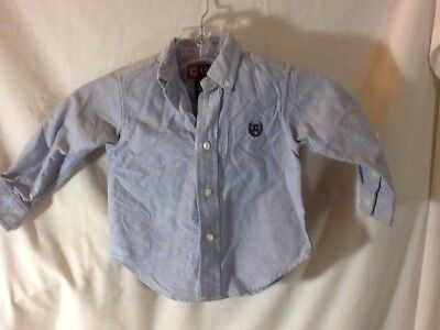 Cute CHAPS Infant Boys Size 12 Months Blue Button Down Long Sleeve Shirt, NICE