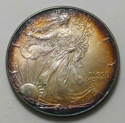 2000 American Silver Eagle Uncirculated Monster Toned!