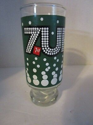 Vintage 1970's 7UP Bubbles Soda 14 oz. Drinking Glass Green Pedestal Base