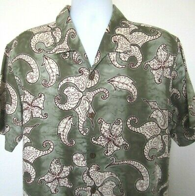 7743db70 VINTAGE TOES ON The Nose Hawaiian Camp Shirt White Embossed Floral ...