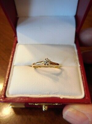 Antique 14k Yellow Gold Old Mine Cut Diamond Solitaire Engagement Ring (587)