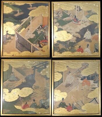 """Set of 4 Rare Japanese Painted Panels Tales of Genji, c. 17th/18th. 9 1/8"""" x 7 ¾"""