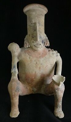 "Pre-Columbian Jalisco Sheep Faced Ball Player w/bat. c. 300 - 600 A.C.E. 16 ¾"" t"