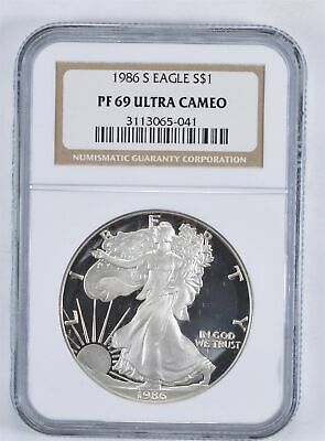 PF69 UCAM 1986-S American Silver Eagle - Graded NGC *931