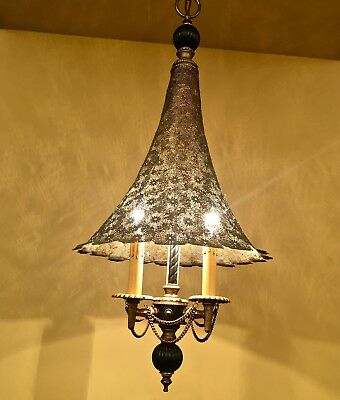 Vintage Lighting antique 1950s Hollywood Regency chandelier WoW brass shade