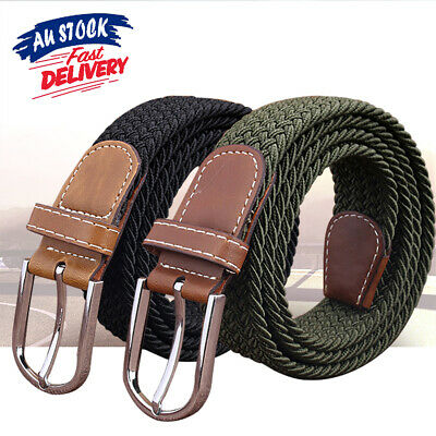 Men's Elastic Stretch Woven Waist Straps Waistband Braided Canvas Buckle Belt AU
